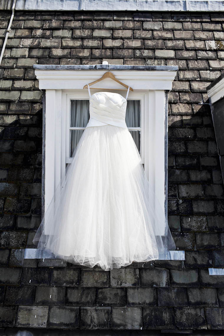 wedding dress hanging at cannizaro house