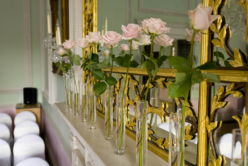 wedding roses chandos house fireplace