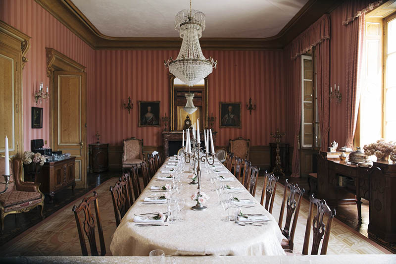 at chateau la durantie dining room wedding breakfast