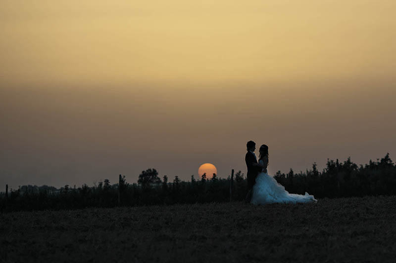 sunset shot bride and groom destination wedding france