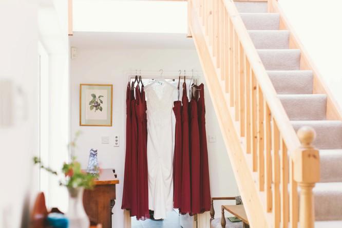 david fielden weddig dress with dessy bridesmaids