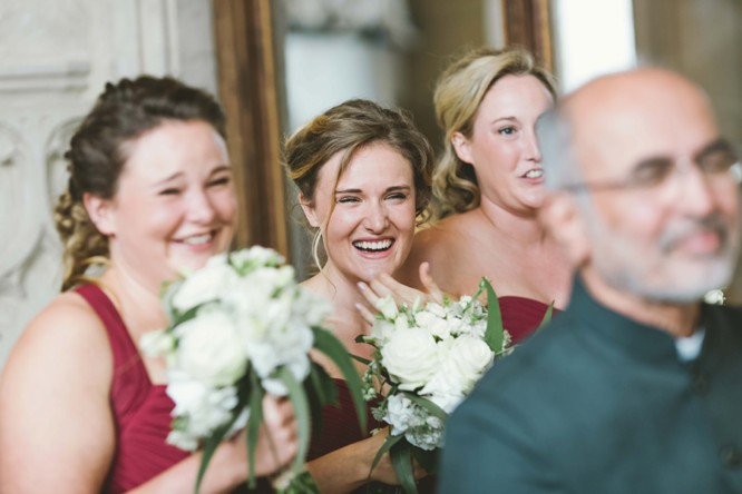 red dessy bridesmaids dress