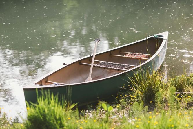 boat in lake at wedding