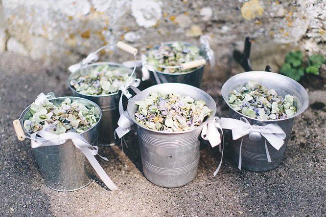 metal wedding buckets