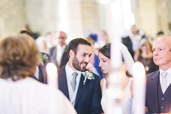 bride and groom first look in church cotswolds