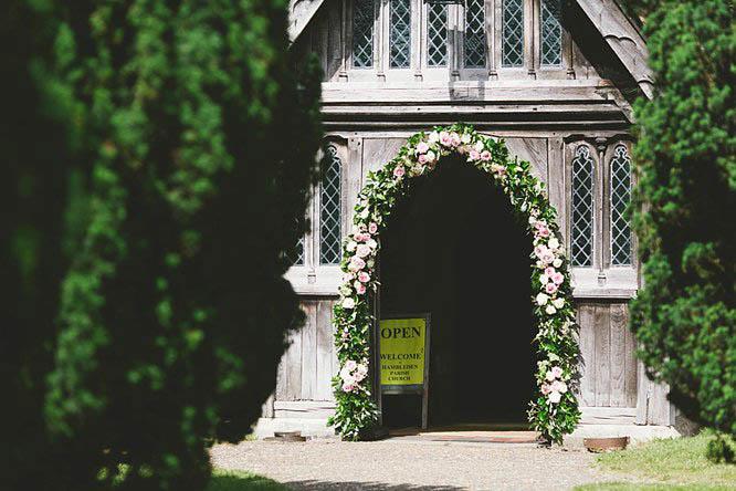 flower arch ideas at a buckinghamshire church