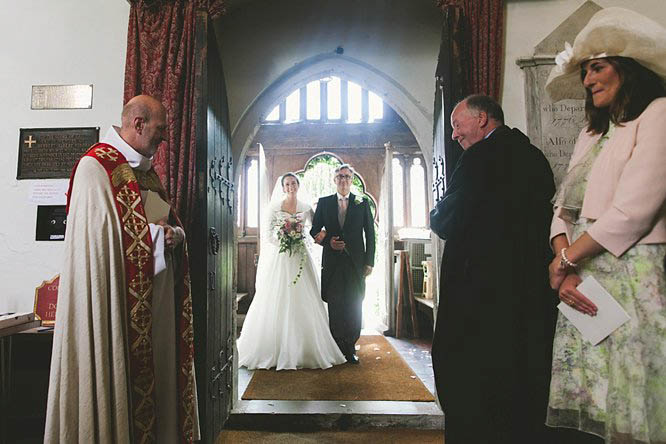 bride and her father entering church