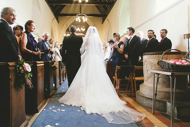 suzanne neville dress with long veil