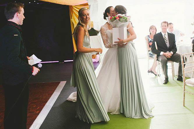 2 birds bridesmaids full length shift dresses