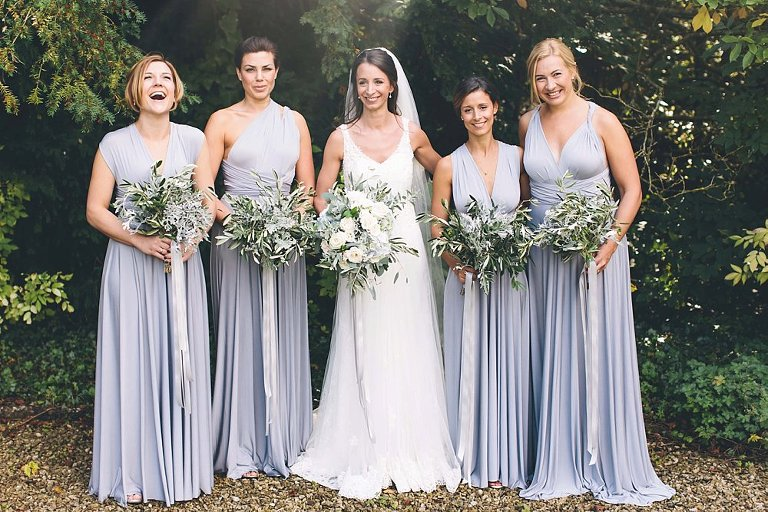two birds grey bridesmaids dress