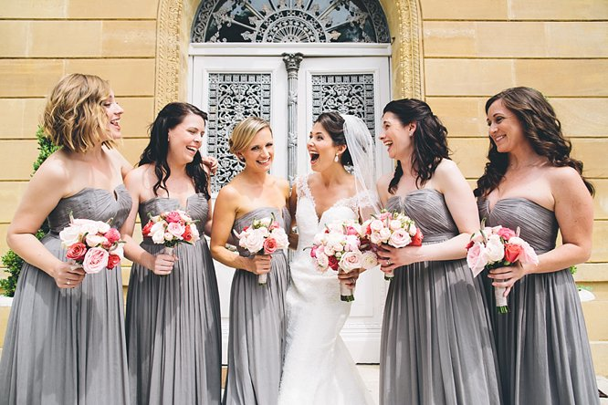 bride and bridesmaids laughing photo france