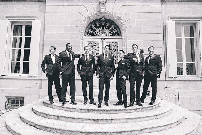 cool black white photo groom ushers