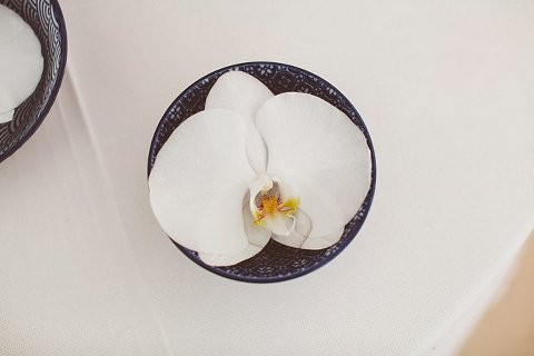 orchid wedding place setting