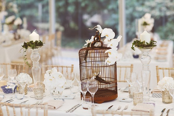 wedding birdcage with orchids