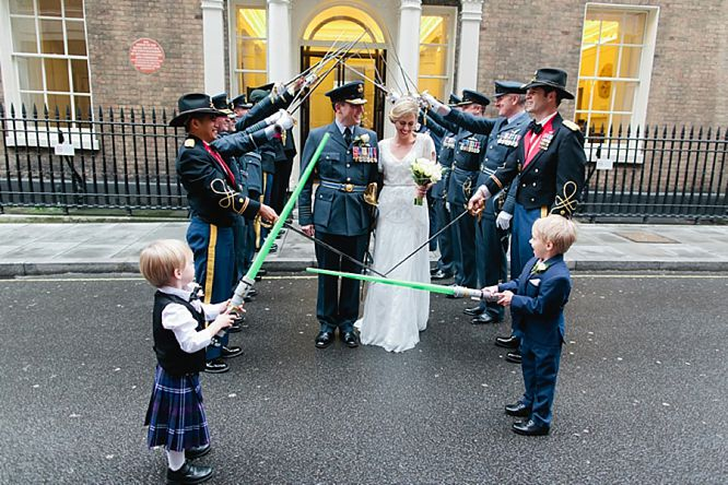 guard of honour with light sabres